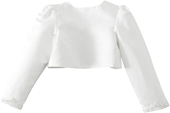 ACSUSS Little Big Girls Long Sleeves Bolero Wedding Pageant Shrug Flower Dress Cover Up Short Cardigan Jacket