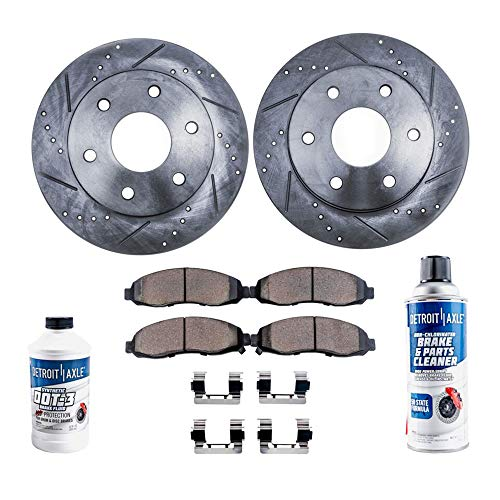 Detroit Axle - Pair (2) Rear Drilled and Slotted Disc Brake Rotors w/Ceramic Pads w/Hardware & Brake Cleaner & Fluid for 2007-2017 Ford Expedition - [2007-2018 Lincoln Navigator] ()