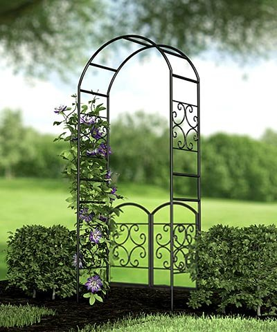 Panacea Scroll Arbor with Gate, 90 , Black