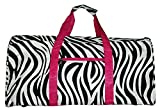 21 in Print Duffle, Overnight, Carry on Bag with Outside Pocket and Shoulder Strap (Zebra with Pink Trim) For Sale
