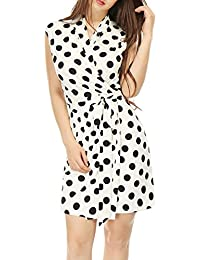 Womens Tie Waist Above Knee Sleeveless Polka Dot Wrap Dress