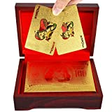 SandiaSummer 24K Gold Foil Playing Cards $100 Dollar Poker Full Deck with Wood Box