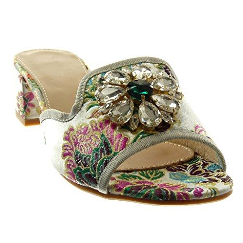 cm Bloc Sandale Talon Mule Femme Angkorly Mode Strass Haut Slip on Brodé Chaussure 4 Bijoux Argent Diamant pwqTZ