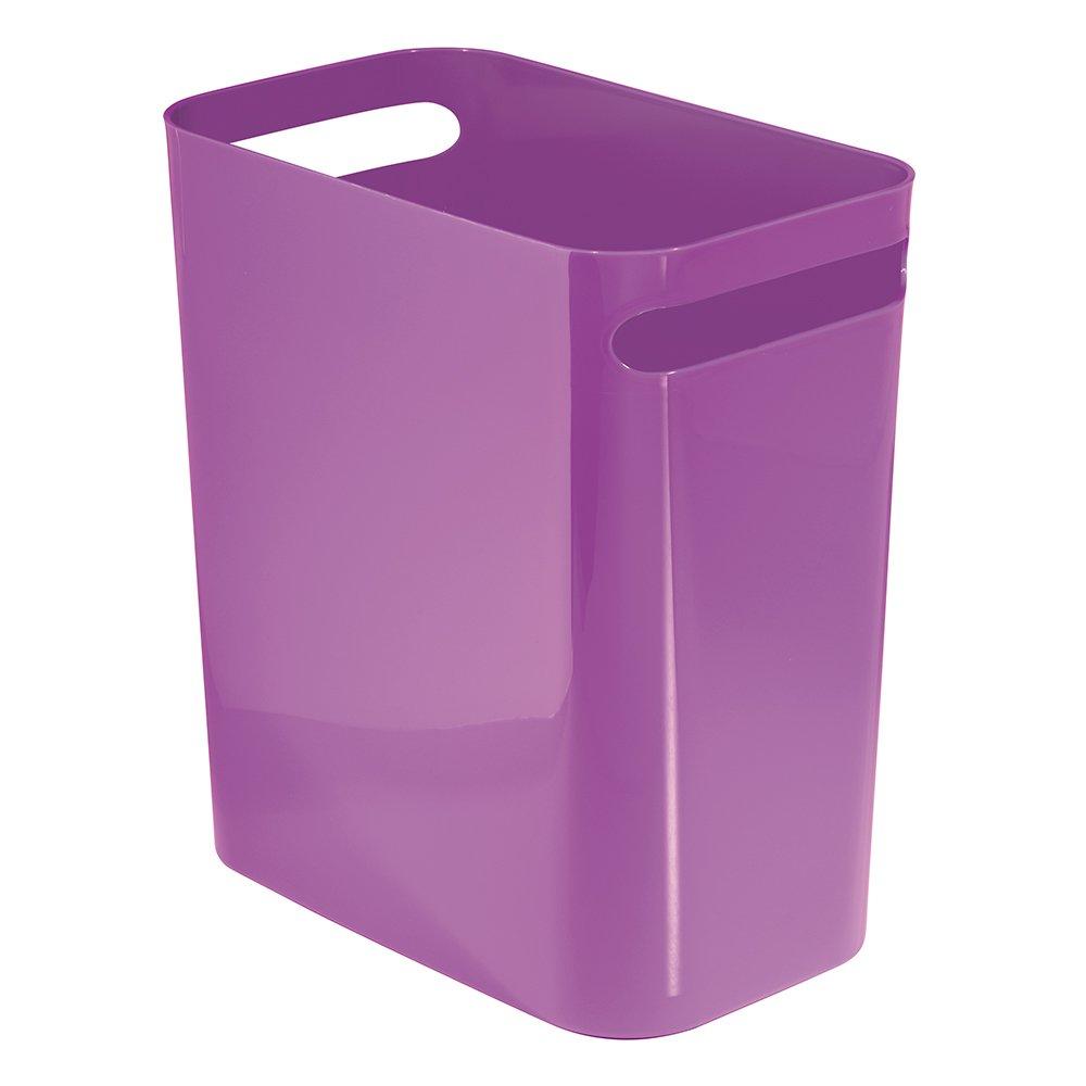 InterDesign Una Wastebasket Trash Can 12'', Purple