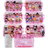 HOME4 Stackable Storage Container - Toy Organizer Case - 6 Layers 60 Adjustable Compartments - Perfect for Small Dolls and Toys - Dolls Not Included - Pink Glitter