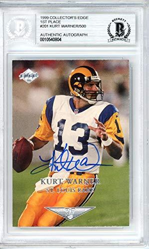Collectors Edge Card Autographed (Kurt Warner Autographed 1999 Collector's Edge Card #201 St. Louis Rams Beckett BAS Stock #134027 - Beckett Authentication)