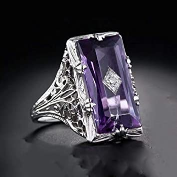 Size 6-10 Wedding Elegant 925 Silver Jewelry Women Rings Emerald Cut Amethyst