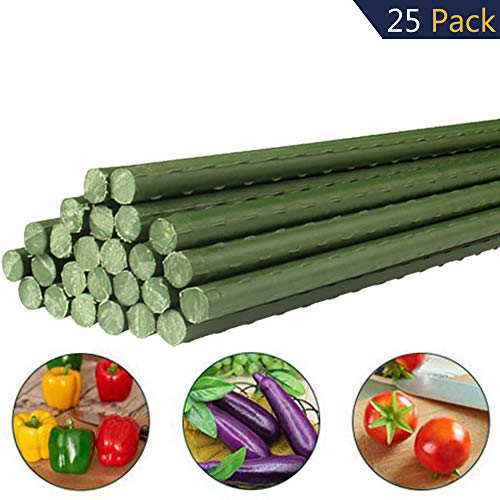 YIDIE Sturdy Metal Garden Stakes 4 Ft Plastic Coated Plant Sticks,Pack of 25