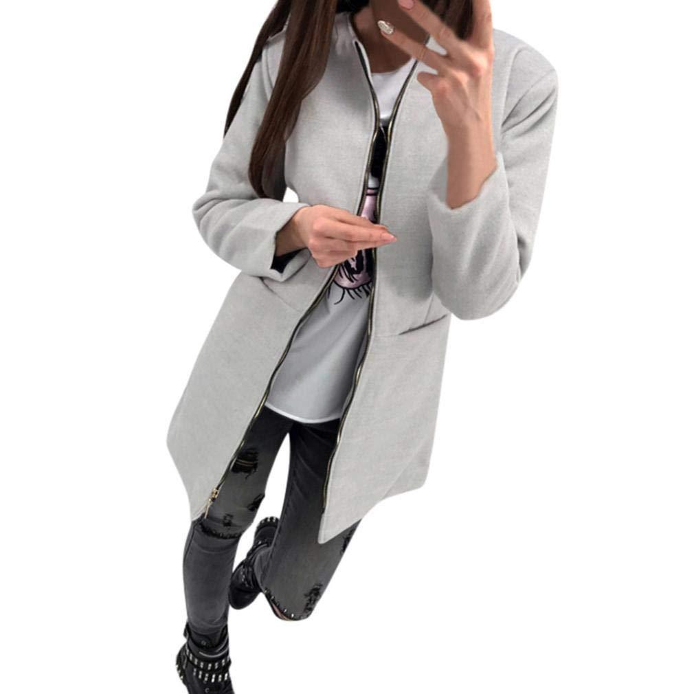 Pandaie Jacket,Womens Loose Casual Zipper Long Sleeve Pocket Coat
