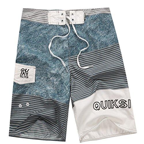 Baymate Herren Badeshorts Mit Streifen Badehose Spleiß Boardshorts Surf-Shorts Denim 34