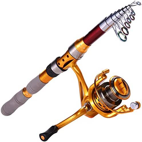 Sougayilang Fishing Rod Carbon Telescopic Fishing Rod and Reel Combo