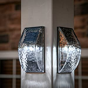 Set of 2 Iced Solar Textured Glass Sconce Outdoor Wall Lights with 3 Bright White LEDs, Rechargeable Battery Included