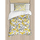 Grey and Yellow Duvet Cover Set by Ambesonne, Geometric Vintage 60s Home Decor Inspired Zig Zags, 2 Piece Bedding Set with Pillow Sham, Twin / Twin XL, Marigold Charcoal Grey and White
