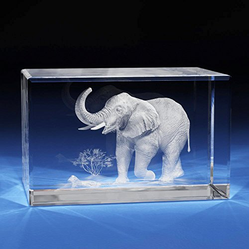 3D Laser Crystal Glass Etched Engraving Gifts Elephent Animals Landscape S Transperant Clear NEW (Andy Warhol Ornaments)