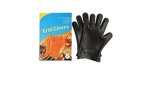 Amazon.com : eDealMax Guantes Barbacoa resistente al calor Asar a la parrilla que cocina fumadores Protección Gran barbacoa Grill mitones del horno Negro ...