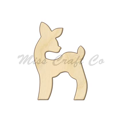 Baby Deer Wood Shape Cutout Wood Craft Shape Unfinished Wood Diy Project All Sizes Available Small To Big Made In The Usa 6 X 4 Inches