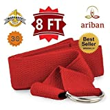 AribanÂTM - Yoga Strap - Yoga Strap with Buckles (D Ring) -- Length: 8 Foot -- Attain Better Flexibility and Higher Consciousness with Our âœ