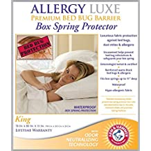 Allergy Luxe Arm & Hammer Antimicrobial Bed Bug Proof Barrier Zipper Box Spring Cover, Dust Mite Insect & Waterproof Encasement Hypoallergenic Protector - King Size 78 x 80 in. Lifetime Warranty
