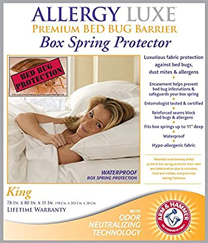 Allergy Luxe Arm & Hammer Antimicrobial Bed Bug Proof Barrier Zipper Box Spring Cover, Dust Mite Insect & Waterproof Encasement Hypoallergenic Protector - King Size 78 x 80 in. Lifetime - Allerzip Waterproof Bed Bug