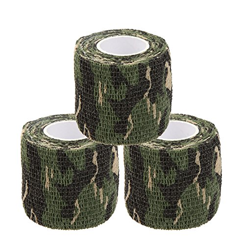 Uning Self-adhesive Protective Camouflage Tape Wrap 5CM x 4.5M Tactical Camo Form Multi-functional Non-woven Fabric Stealth Tape Stretch Bandage for Outdoor Military Hunting (Pack of 3) (Camouflage 1)