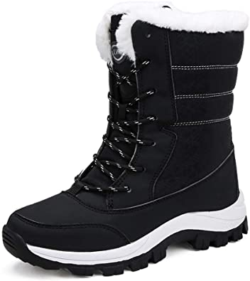 Women Winter Warm Fur Lined Snow Boots Waterproof Casual High-top Mid Calf Shoes