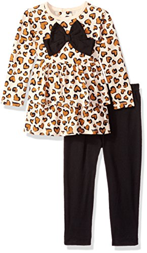 - Bon Bebe Baby Girls' 2 Piece Top with Rear Snap Neck Opening and Legging Set, Leopard Hearts, 3-6 Months
