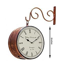 Max Engineering Enterprises Vintage Railway Station/Platform Double Side 6 Antique Wall Clock decorative