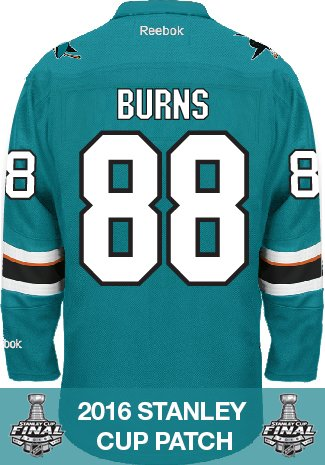 Brent Burns San Jose Sharks 2016 Stanley Cup Patch Reebok Premier Home NHL Jersey