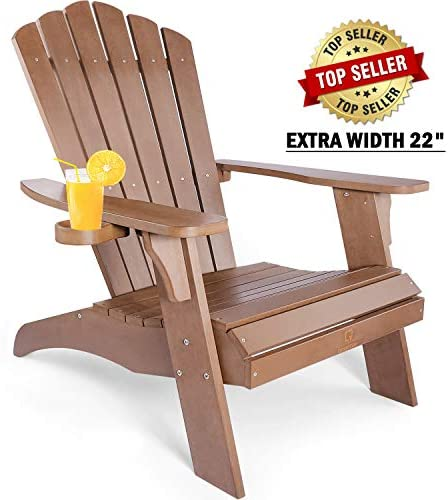 OT QOMOTOP Oversized Poly Lumber Adirondack Chair with Cup Holder, Fade-Resistant Lounge Chair with 350lbs Duty Rating, All-Weather Chair, 38L 30.25W 41.5H Brown