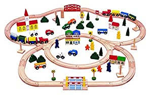 100-piece Triple-loop Wooden Train Set (Inc. 16 Trains and Cars!!) - 100% Compatible with All Major Brands Including Thomas Wooden Railway System - By Kids Destiny