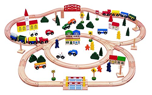 100-piece-Triple-loop-Wooden-Train-Set-Inc-16-Trains-and-Cars-100-Compatible-with-All-Major-Brands-Including-Thomas-Wooden-Railway-System-By-Kids-Destiny
