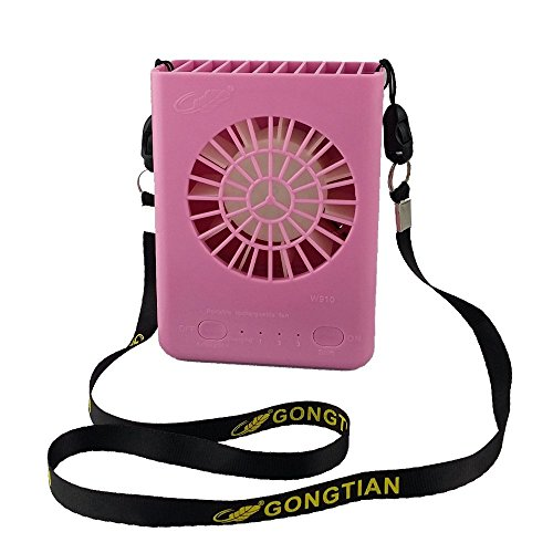 Yokon Personal Necklace Fans, 4.7'' Mini Hanging Neck USB Rechargeable Emergency Fan 3 Speeds with 18650 Lithium-Ion Battery and USB Cable W910 (Pink) by Yokon