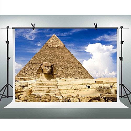 FHZON 7x5ft Majestic Egyptian Pyramid Photography Backdrop Face Image Blue Sky White Clouds Background Themed Party YouTube Backdrops Photo Booth Studio Props FH1347 ()