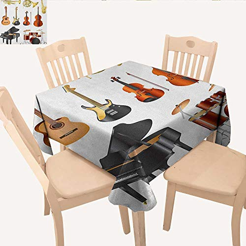 (longbuyer Music Jacquard Tablecloth Collection of Musical Instruments Symphony Orchestra Concert Composition Theme Print Small Square Tablecloth Multicolor W 60
