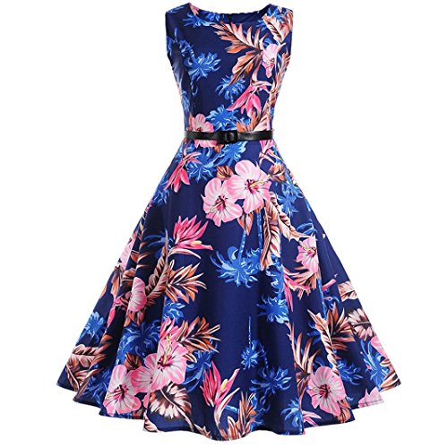 Women Summer Dress,Todaies Women Vintage Bodycon Sleeveless Dress Casual Retro Evening Party Prom Swing Dress 2018 (L, Blue 3)