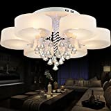 restaurant light fixtures - COLORLED Modern Minimalist Acrylic Remote Control Ceiling Light with 6-Light Flower Shaped Round Circles Chandelier for Living Room Bedroom and Restaurant Pendent Lights Fixtures (White)