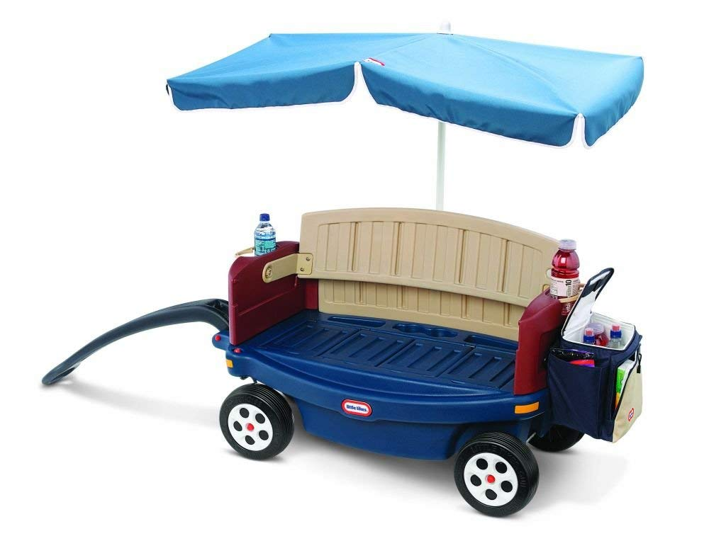 Little Tikes Deluxe Ride and Relax Wagon with Umbrella (Renewed)