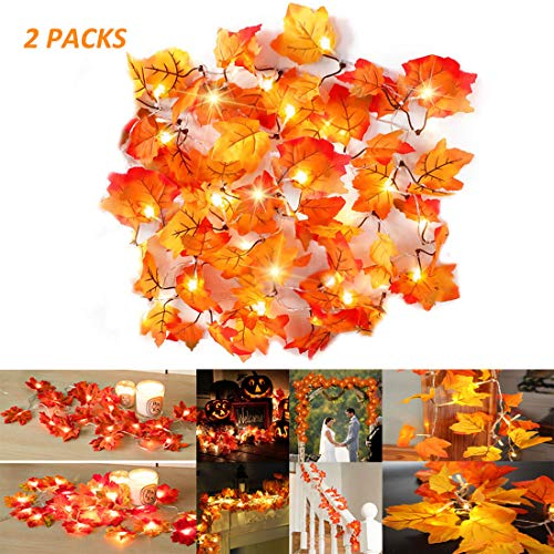 Fall Maple Leaf Garland 20 LED Maple Leaves Fairy Lights Maple Leaf String Lights 2AA Battery Operated for Party, Harvest Festival Fall Garland Decorations 8.2 Feet, 2 Packs (Warm White) (Leaf Lights Fall)