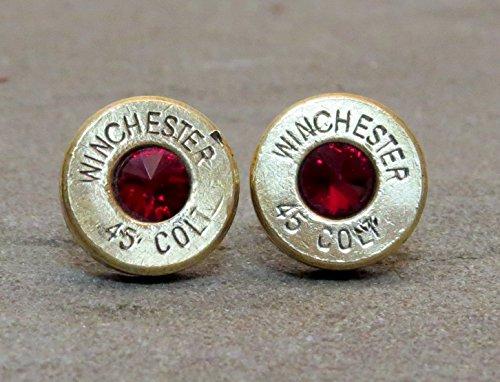 Bullet Casing Earrings Colt 45 Swarovski Ruby