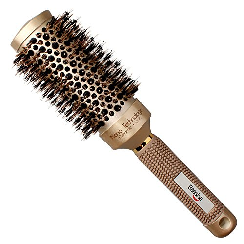 Bassha Boar Bristle Small Round Brush to Create Shiny, Healthy Hair and Add Volume, Ceramic Round Brush for Short Hair, Roller Round Brush for Flipping Hair, Round Hair Brush for Blow Drying