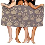Paw Print On Wood Premium 100% Cotton Large Bath Towel, Pool & Bath Towel (80 ''x 130'') Natural, Soft, Quick Dry