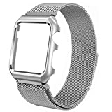 Apple Watch Band, Rerii Magnetic Closure, Milanese Loop, Mesh Stainless Steel, Replacement Wrist Band with Metal Protective Case for Apple Watch Series 3 / 2 / 1, Sport & Edition 42mm