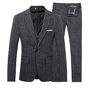 Men's Stripe Center Vents One Button 3-Piece Suit Blazer Jacket Tux Vest & Trousers,Black,Medium