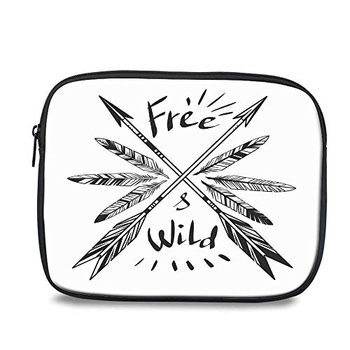 Arrow Decor Durable iPad Bag,Native American Feathers and Arrows Vintage Weapon with Lettering Free and Wild for iPad,10.6