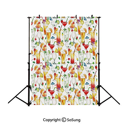 10x12Ft Vinyl Tiki Bar Decor Backdrop for Photography,Exotic Cocktails Summer Drinks Fresh Juicy Beverages Watercolor Collection Decorative Background Newborn Baby Photoshoot Portrait Studio Props Bir