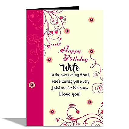 Happy Birthday Wife Greeting Card Amazon Office Products