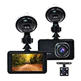"""Accfly Dash Cam 1080P 3.0"""" LCD Screen Car Dash Camera DVR Recorder G-Sensor, Loop Recording Motion Detection with 170° Wide Angle Lens + Vehicle Rear Camera"""