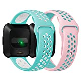 Antemart for Fitbit Versa Bands, Replacement Silicone Sport Band Bracelet Strap with Ventilation Holes for 2018 Fitbit Versa Smart Watch,Design for Women Men Boys Girls
