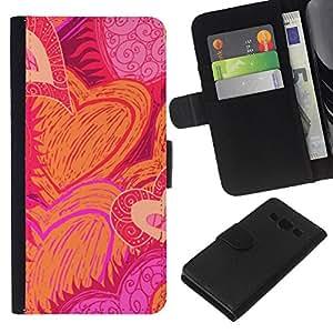 KingStore / Leather Etui en cuir / Samsung Galaxy A3 / Dessiné Sun Flames de rose d'amour