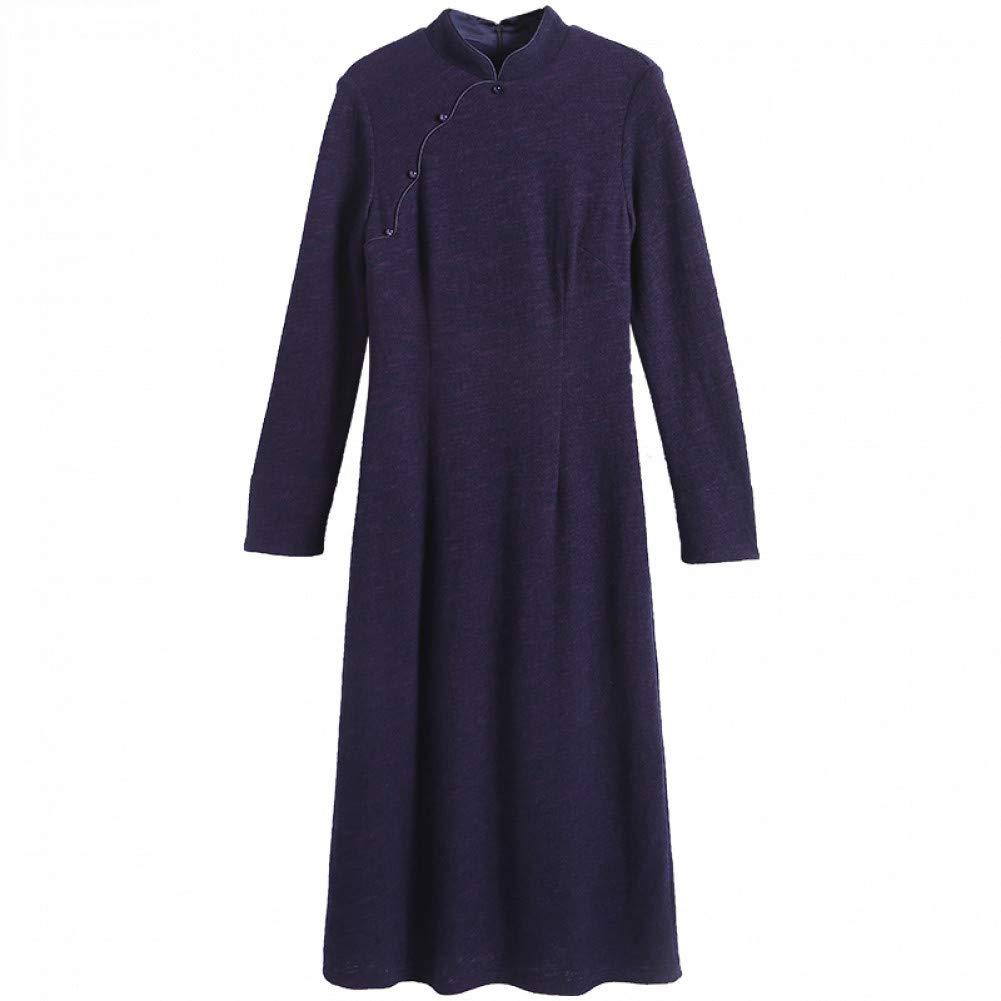 L BINGQZ Dress female winter new women's ladies temperament retro improved cheongsam autumn and winter skirts